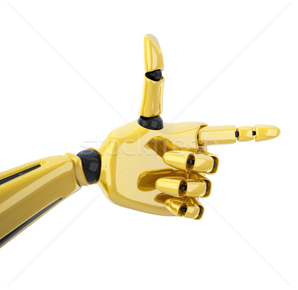 Pointing 3d gold robotic hand Stock photo © sommersby