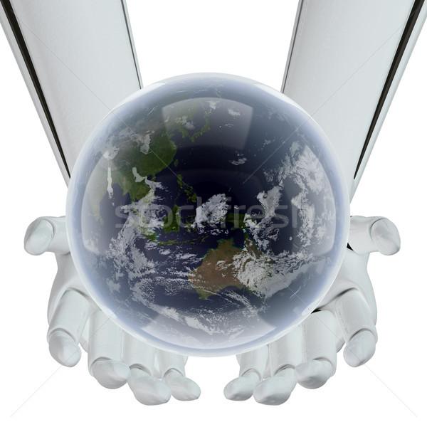 Avenir terre mains technologie monde carte Photo stock © sommersby