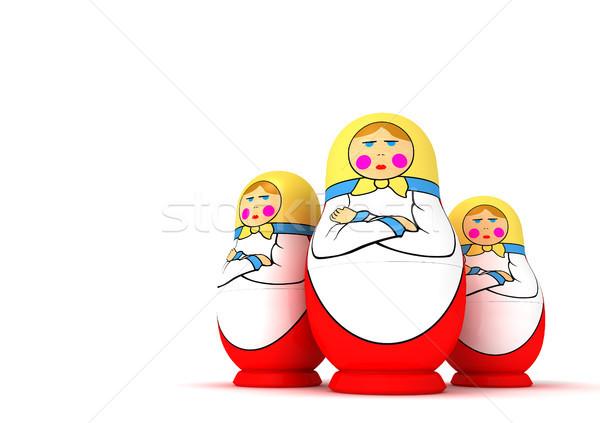 Orosz babák három komoly fehér család Stock fotó © sommersby