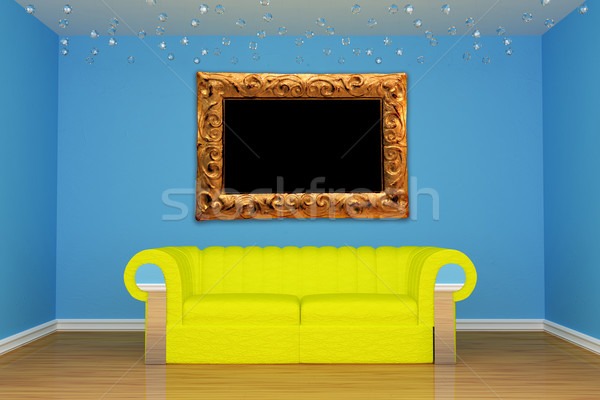 blue minimalist living room with yellow couch Stock photo © sommersby