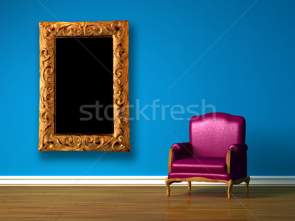 Purple chair in blue minimalist interior Stock photo © sommersby