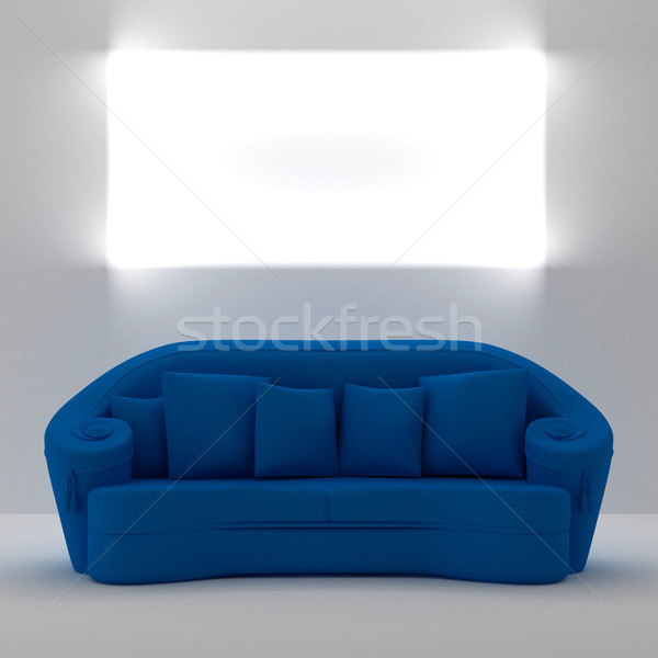 Blue sofa with place on the wall for yours text Stock photo © sommersby