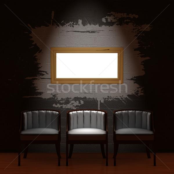 3  椅子 空っぽ フレーム 暗い ミニマリスト ストックフォト © sommersby