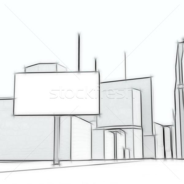 Сток-фото: Billboard · аннотация · городского · синий · шоссе · маркетинга