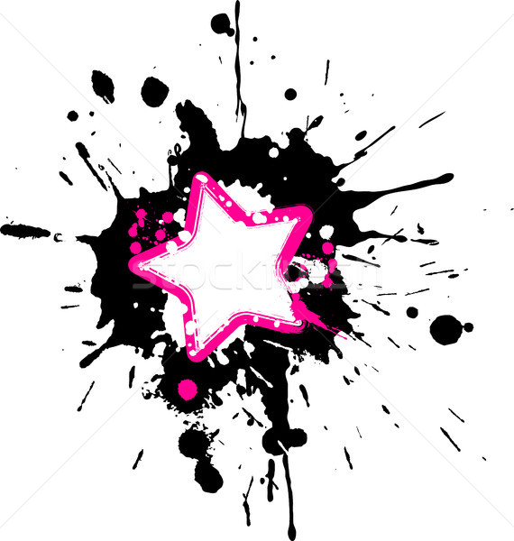 Grunge pink star frame with black and white splashes Stock photo © sommersby