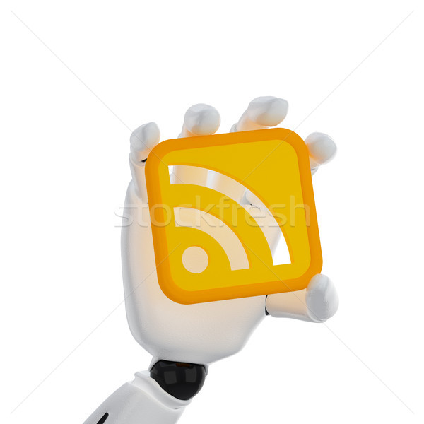 Robotico mano tenere rss simbolo 3D Foto d'archivio © sommersby
