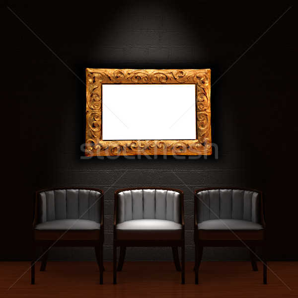 Three chair with empty frame in dark minimalist interior Stock photo © sommersby