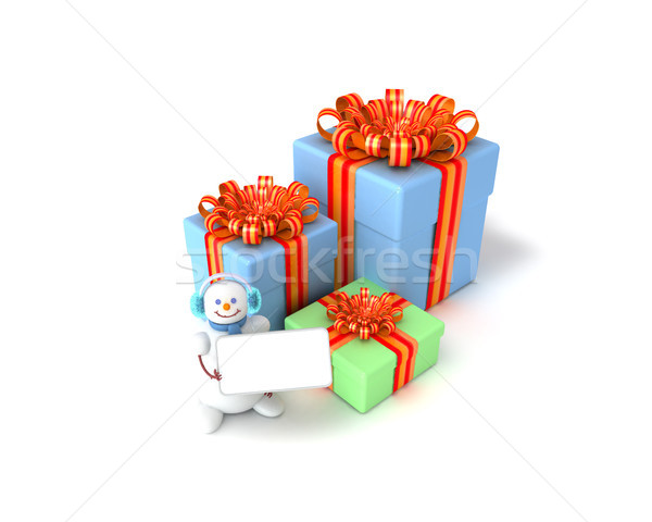 snowman and gift boxes Stock photo © sommersby