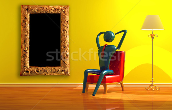 Person relaxing in yellow interior Stock photo © sommersby