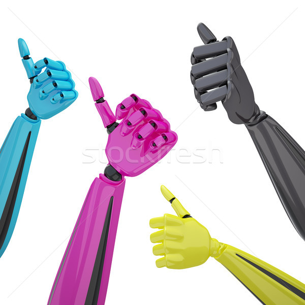 Set of robotic hands with thumb up. Stock photo © sommersby