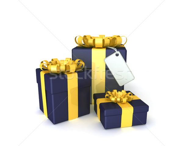 Trois coffrets cadeaux plaque blanche signe Photo stock © sommersby
