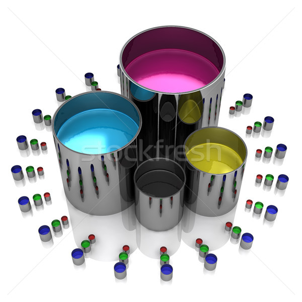 Paint cans on a white background Stock photo © sommersby