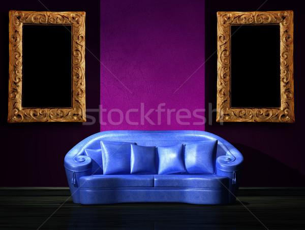 Bleu canapé pourpre mur intérieur Photo stock © sommersby
