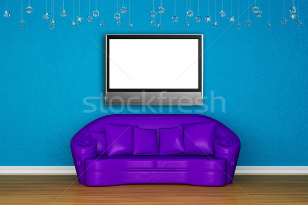 Alone purple sofa in blue interior Stock photo © sommersby