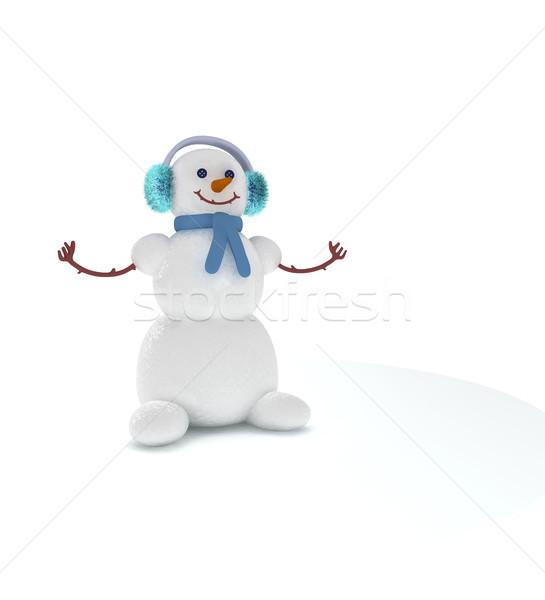 Сток-фото: снеговик · 3D · Cute · белый · снега · зима