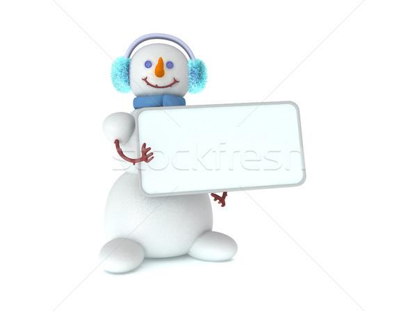 Сток-фото: снеговик · 3D · Cute · льда · зима