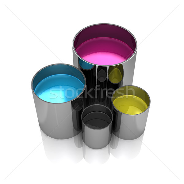 Paint cans isolated on a white background. Stock photo © sommersby