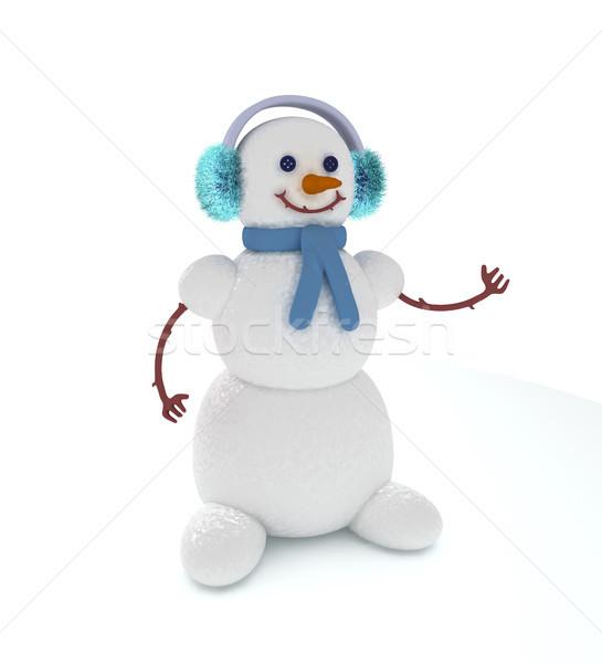 снеговик 3D Cute точки что-то снега Сток-фото © sommersby