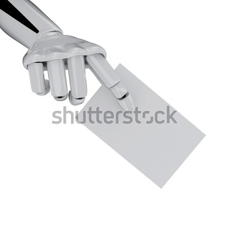 Robotic hand with Blank Business Card, add your text. Stock photo © sommersby