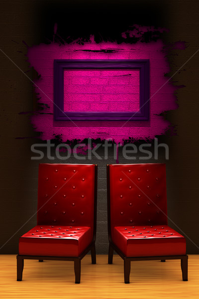 Two red chairs with empty frame in minimalist interior Stock photo © sommersby