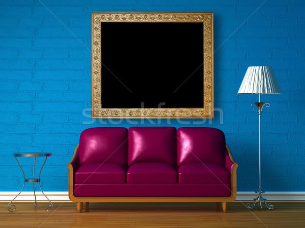 紫色 ソファ 表 標準 ランプ 青 ストックフォト © sommersby