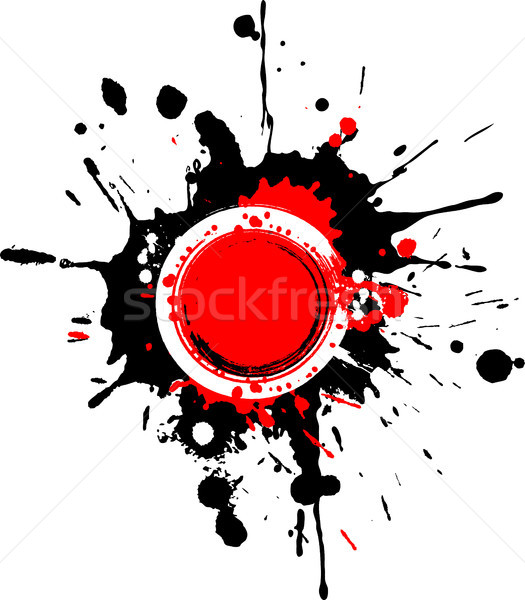 Grunge circular frame with red splashes Stock photo © sommersby