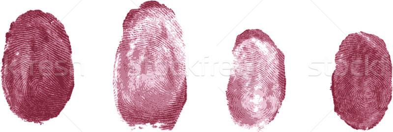 Отпечатки пальцев набор стороны безопасности печать шаблон Сток-фото © sommersby