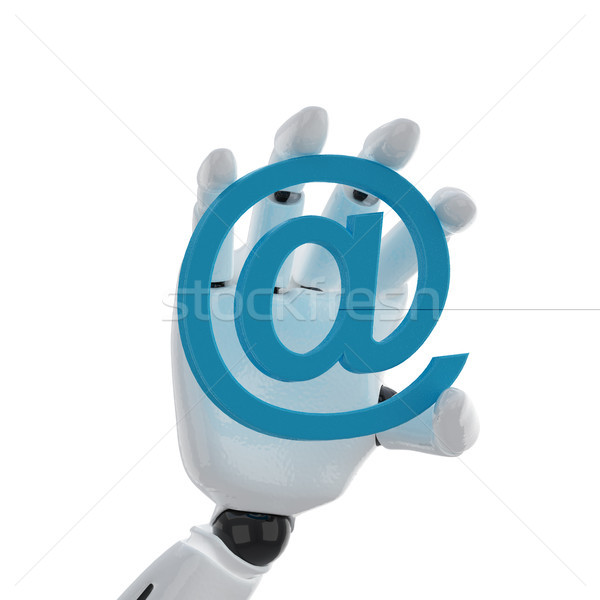 Robotachtige hand houden e-mail symbool bouw Stockfoto © sommersby