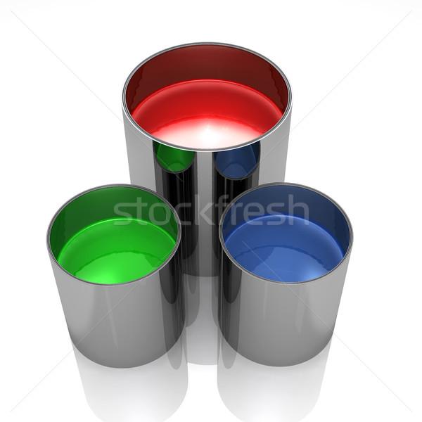 Сток-фото: краской · изолированный · белый · фон · металл · зеленый