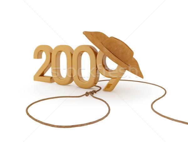 új év 2009 szám cowboykalap buli fény Stock fotó © sommersby