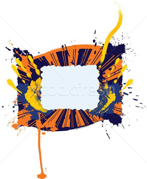 Сток-фото: аннотация · Гранж · кадр · стороны · фон · оранжевый