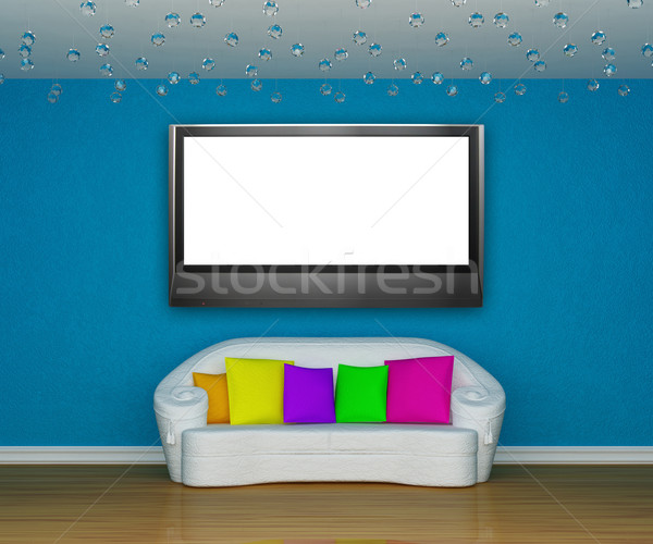 blue minimalist living room with white couch with colored cushio Stock photo © sommersby