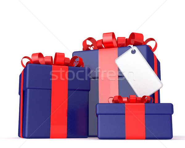 Three gift boxes with a blank plate Stock photo © sommersby