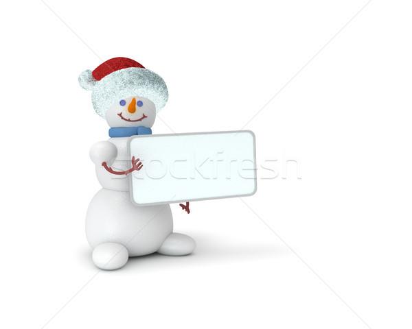 Kardan adam şapka 3D sevimli buz Stok fotoğraf © sommersby
