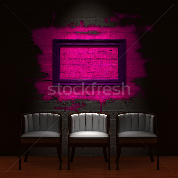 Three chair with empty frame in dark minimalist interior Stock photo © sommersby