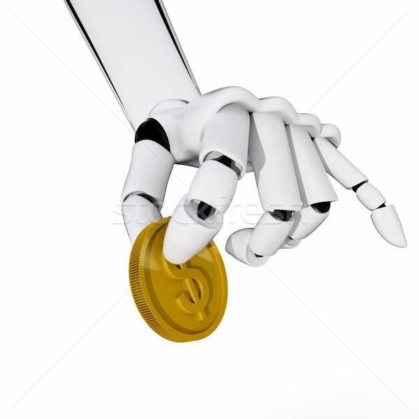 Betaling 3D robotachtige hand houden munt Stockfoto © sommersby