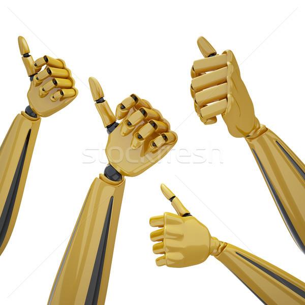 рук большой палец руки вверх набор 3D Сток-фото © sommersby