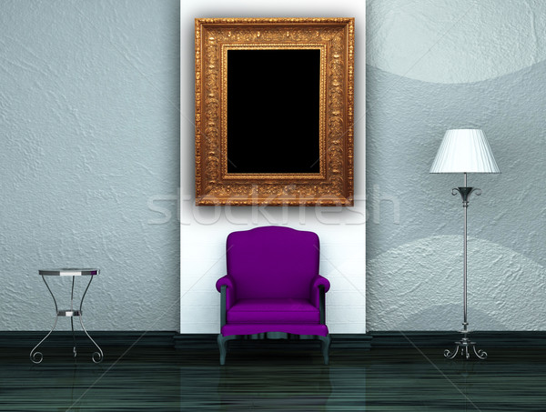 Purple chair with table and stand lamp Stock photo © sommersby