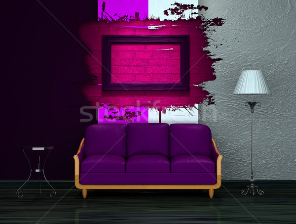 Purple couch with table and stand lamp in dark minimalist interi Stock photo © sommersby