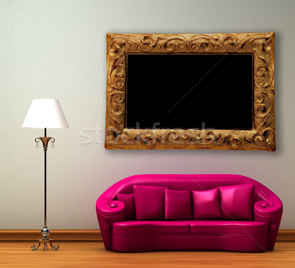 Pink couch with standard lamp in minimalist interior Stock photo © sommersby