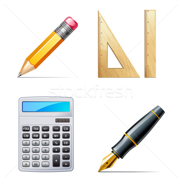 Onderwijs iconen potlood pen calculator heerser Stockfoto © sonia_ai