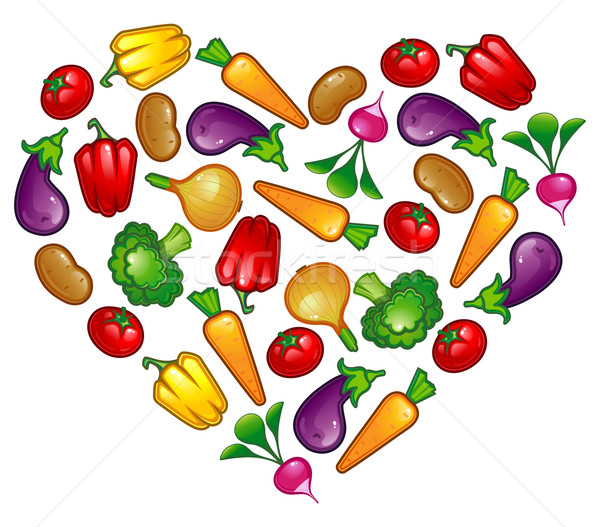 Foto stock: Saudável · vegetal · coração · comida · vermelho · agricultura