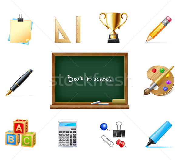 Stock photo: back to school with education icons
