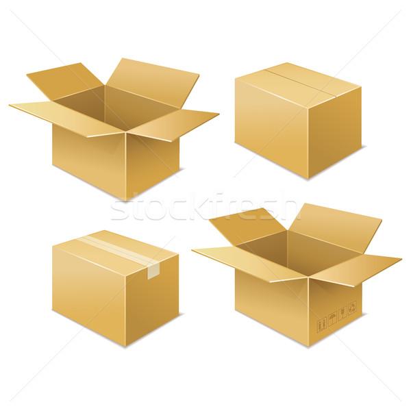 Doboz ingyenes szállítás ikon izolált fehér papírok Stock fotó © sonia_ai
