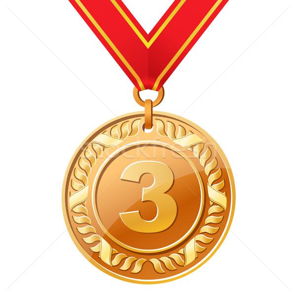 Сток-фото: бронзовый · медаль · металл · знак · успех · лента