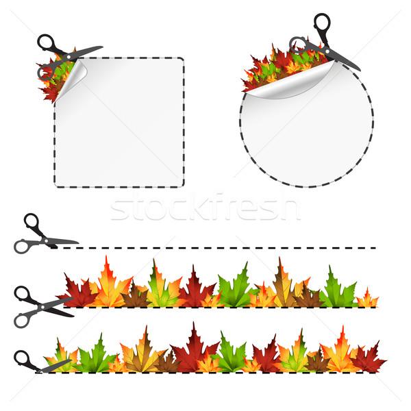 вектора Cut наклейку осень лист изолированный Сток-фото © sonia_ai