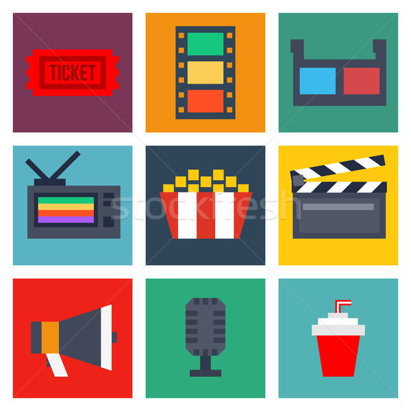 Set of cinema icons in flat style Stock photo © sonia_ai