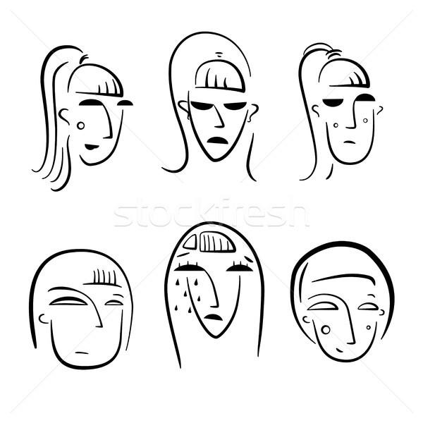 смешные Cartoon женщину характер изолированный белый Сток-фото © sonia_ai