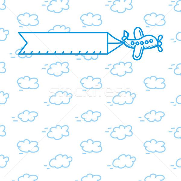 Vliegtuig poster wolken geïsoleerd witte cartoon Stockfoto © sonia_ai