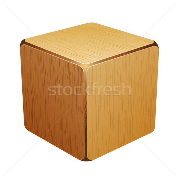 Fából készült kocka doboz izolált fehér fa Stock fotó © sonia_ai